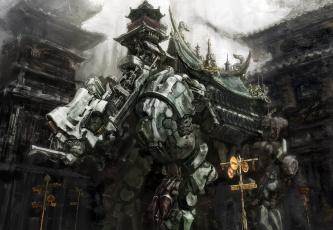 обоя фэнтези, роботы,  киборги,  механизмы, asian, anime, mecha, house, robot, asiatic, oriental, palace, japanese
