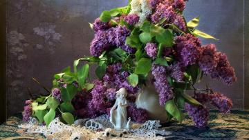 обоя цветы, сирень, салфетка, букет, ваза, статуэтка