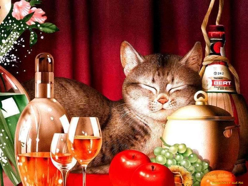 Дочери днем, анимационная открытка с котом день рождения