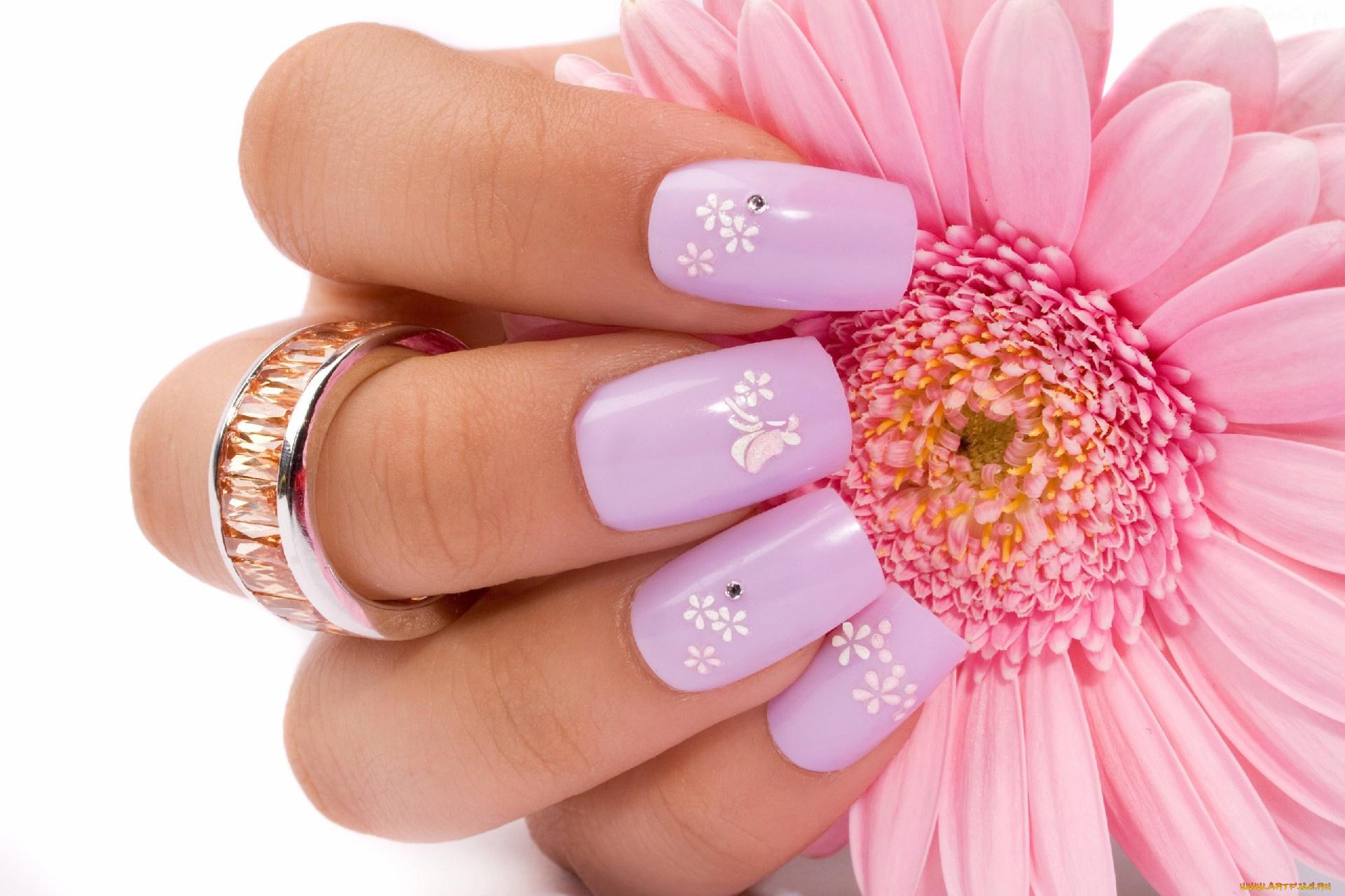 Цветами, открытки ногти