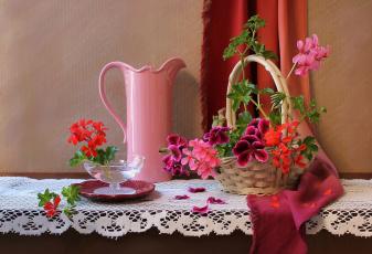 Картинка цветы герань кувшин корзина