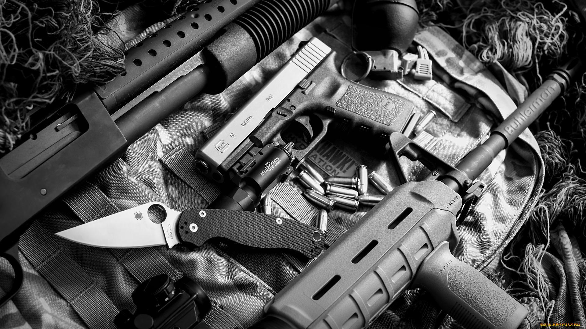 Автомат, нож и пистолет  № 3465050 загрузить
