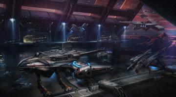 Картинка космопорт фэнтези космические+корабли +звездолеты +станции док корабли будущее