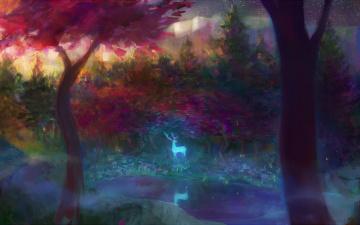 обоя фэнтези, призраки, арт, олень, дух, лес, деревья, свечение, ручей, туман
