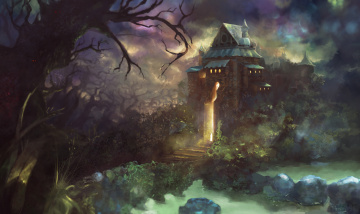обоя фэнтези, замки, замок, мир, иной, лес, деревья