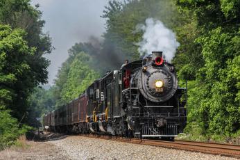Картинка техника паровозы дорога железная вагоны паровоз рельсы