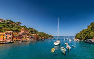 Картинка корабли порты+ +причалы яхты liguria portofino ligurian sea italy лодки гавань море италия лигурия портофино здания лигурийское