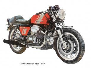 обоя moto, guzzi, 750, мотоциклы