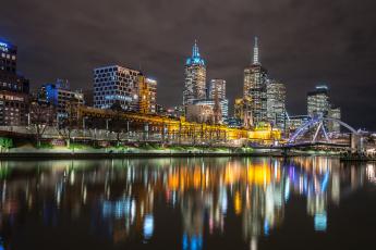 Картинка melbourne города мельбурн+ австралия небоскребы огни ночь