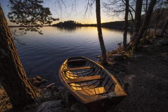 обоя корабли, лодки,  шлюпки, финляндия, деревья, лодка, озеро, закат