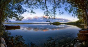 обоя корабли, лодки,  шлюпки, финляндия, деревья, закат, озеро