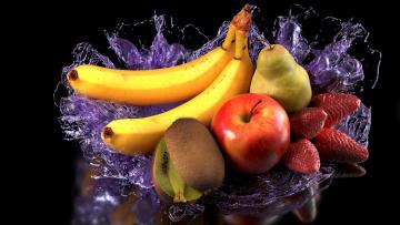 обоя еда, фрукты,  ягоды, яблоко, киви, клубника, груша, бананы