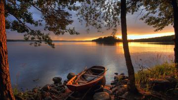 обоя корабли, лодки,  шлюпки, лодка, озеро, закат, финляндия, деревья
