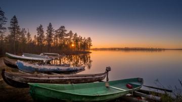 обоя корабли, лодки,  шлюпки, закат, река