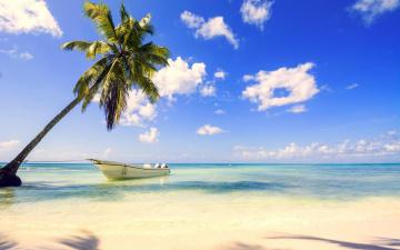 обоя корабли, лодки,  шлюпки, лодка, пляж, море, тропики