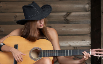 Картинка музыка другое гитара шляпа девушка