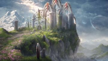обоя фэнтези, иные миры,  иные времена, фэнтази, небо, арт, меч, человек, скала