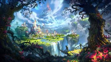 обоя фэнтези, пейзажи, вулкан, волшебство, мост, river, водопад, деревья, город, замок, луна, magic, castle, фантастика, река, fantasy