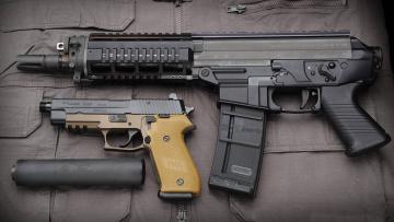 обоя оружие, p220, пистолет, глушитель, sig, sauer, штурмовая, винтовка