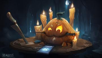 обоя праздничные, хэллоуин, ножи, тыква, halloween, телефон, арт, свечи, праздник