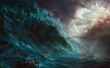 обоя фэнтези, призраки, волна, лодка, паника, люди, шторм, скалы