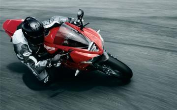 Картинка мотоциклы triumph поворот наклон мотоциклист скорость триумф