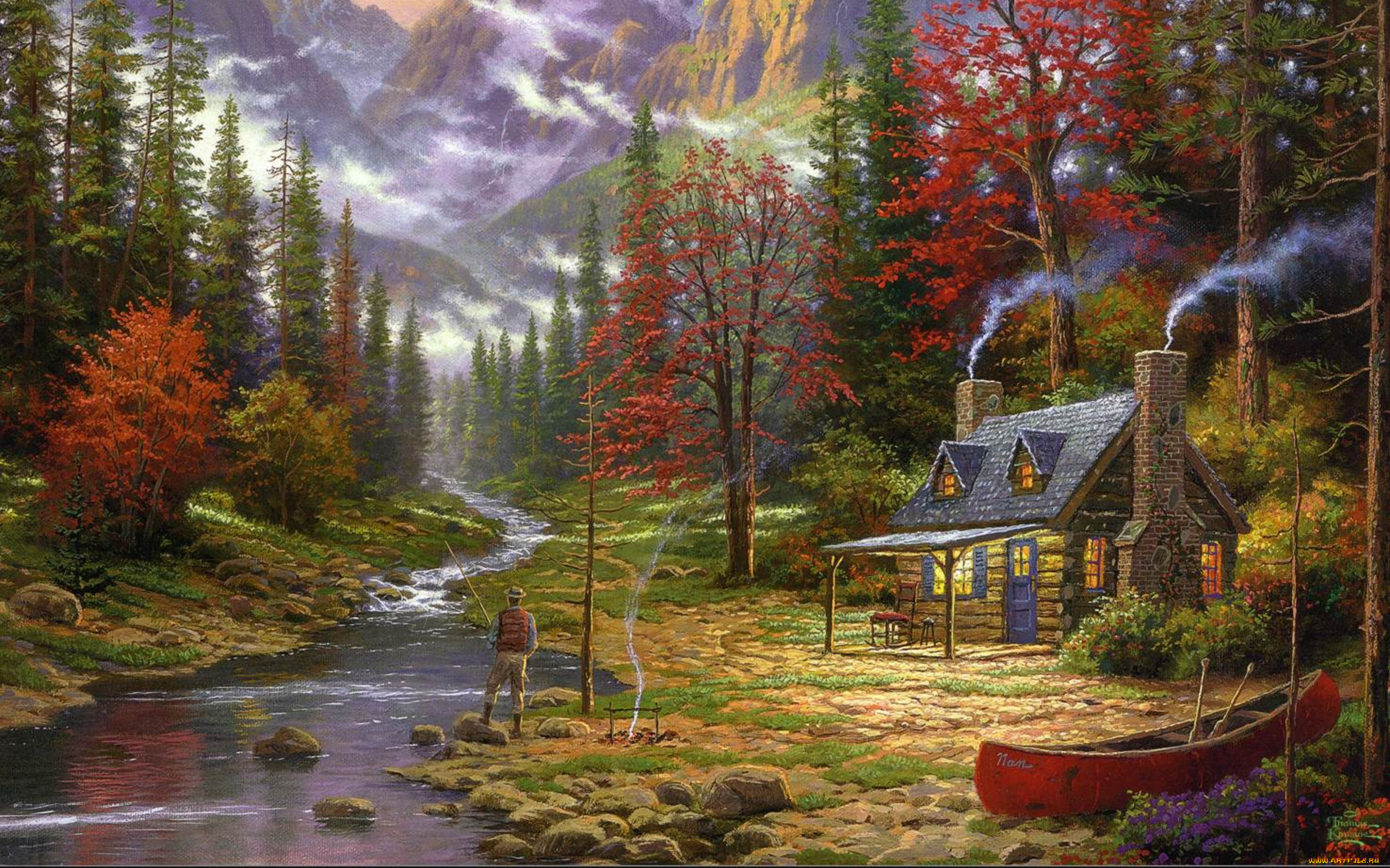 Thomas Kinkade art for sale Peaceful Retreat Beginning of a Perfect Evening II by Thomas Kinkade LARGE 24x36 Signed and Numbered SN Limited Edition Framed Canvas