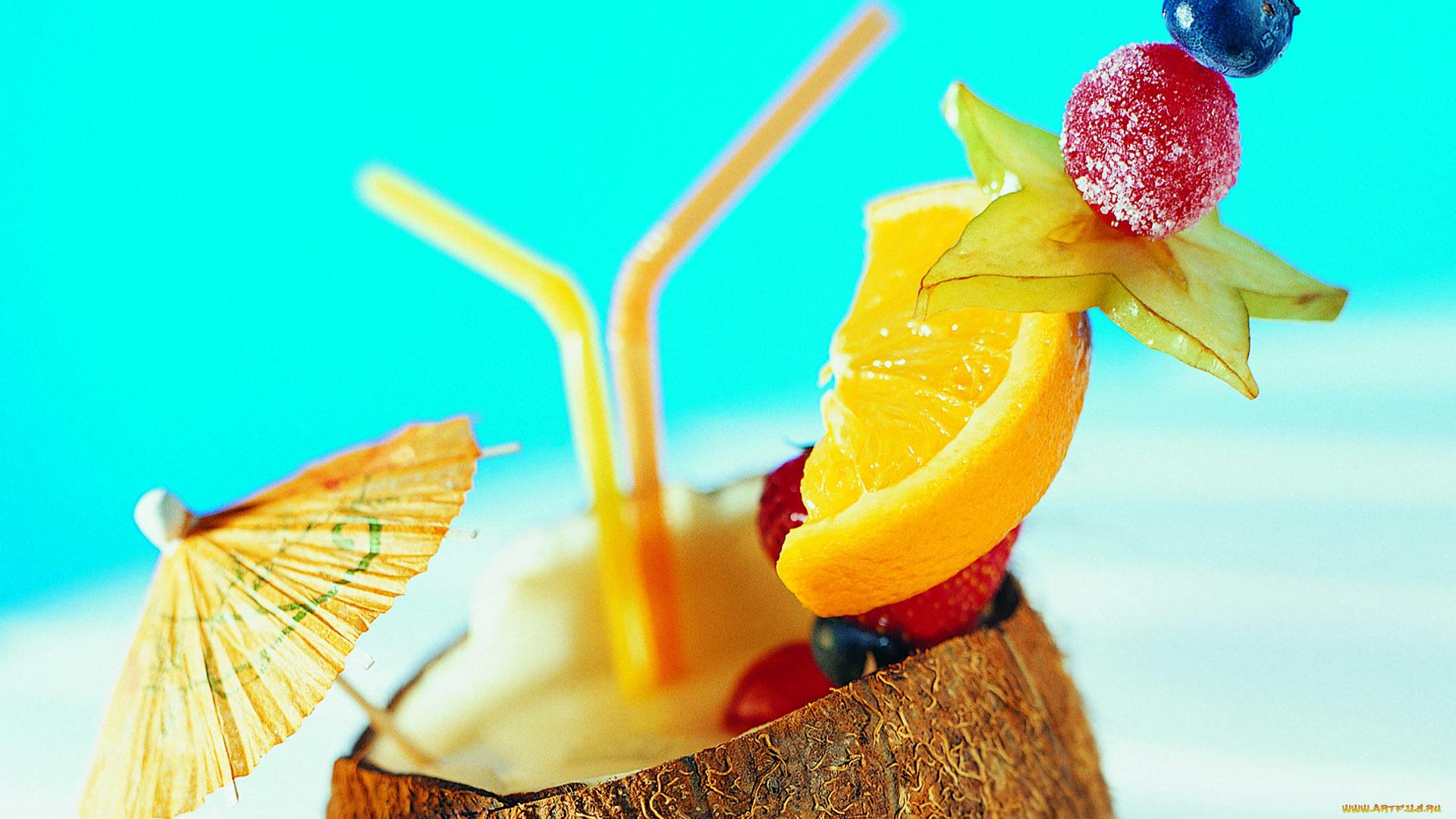 еда сок апельсины клубника кокос коктейль загрузить