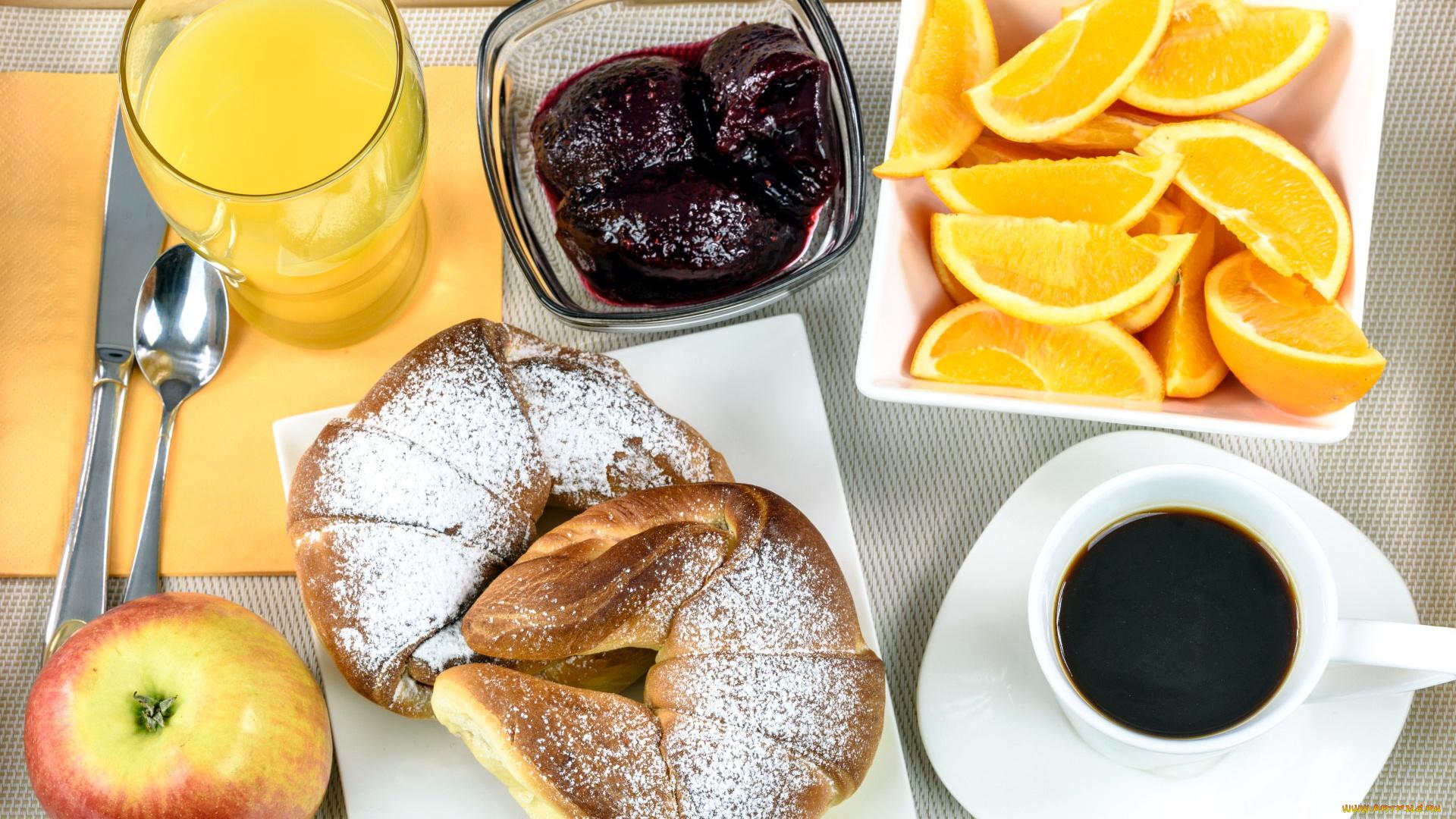 еда кофе апельсин сок круасаны загрузить