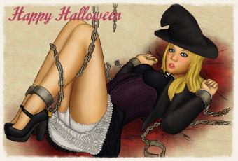 обоя праздничные, хэллоуин, цепь, фон, девушка, взгляд