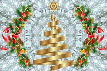 Картинка праздничные векторная+графика+ новый+год ветки игрушки фон шары