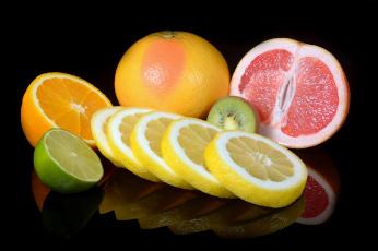 обоя еда, цитрусы, киви, апельсин, грейпфрут, лайм, лимон