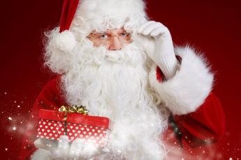 обоя праздничные, дед мороз,  санта клаус, подарок, санта