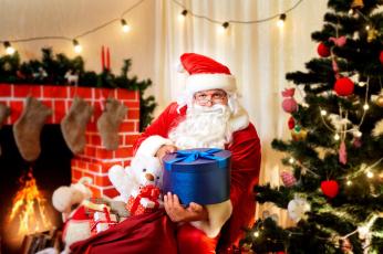 обоя праздничные, дед мороз,  санта клаус, санта, мешок, коробки, подарки, елка