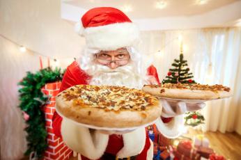 обоя праздничные, дед мороз,  санта клаус, угощение, пиццы, санта
