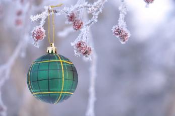 обоя праздничные, шары, шарик, ветка, снег, ягоды