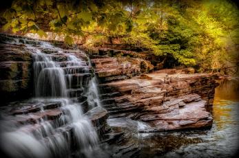 Картинка природа водопады йоркшир деревья скалы водопад