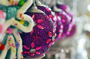 обоя праздничные, шары, боке
