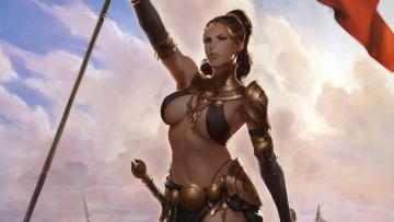 обоя фэнтези, девушки, воин, фентези, меч, девушка, арт