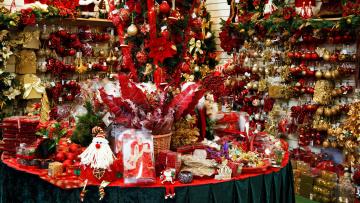 обоя праздничные, - разное , новый год, шарики, магазин, украшения, фигурки