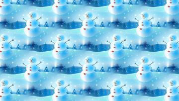 обоя праздничные, векторная графика , новый год, снеговик, снежинка, праздник, настроение, фон, текстура, новый, год