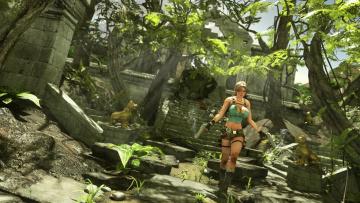 обоя видео игры, tomb raider , other, девушка, фон, взгляд, джунгли