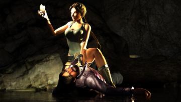 обоя видео игры, tomb raider , other, девушка, мужчина, пещера, коса