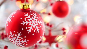 обоя праздничные, шары, красные, макро, шарики