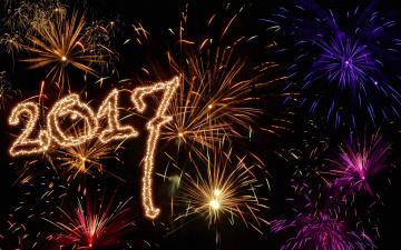 обоя праздничные, - разное , новый год, салют, фейерверк, цифры, год