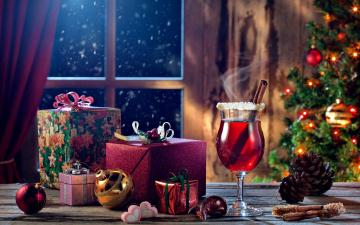 обоя праздничные, - разное , новый год, шары, глинтвейн, подарки, шишки