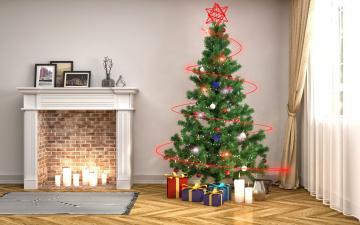 обоя праздничные, 3д графика , новый год, интерьер, камин, елка