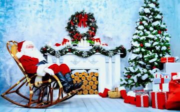 обоя праздничные, дед мороз,  санта клаус, камин, дед, мороз