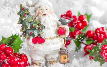 обоя праздничные, дед мороз,  санта клаус, ягоды, санта, игрушка