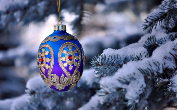 обоя праздничные, шары, украшение, снег, елка